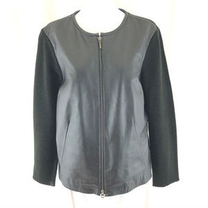 Alfani Womens Jacket Leather Wool Blend Knit M